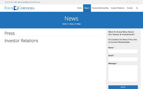 Screenshot of Press Page fourcornersinc.com - Four Corners Inc   News   Four Corners Inc and its Subsidiary Gaming Companies. - captured Sept. 30, 2014