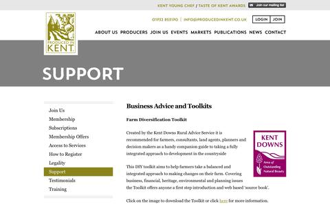 Screenshot of Support Page producedinkent.co.uk - Support | Produced in Kent - captured Oct. 3, 2014