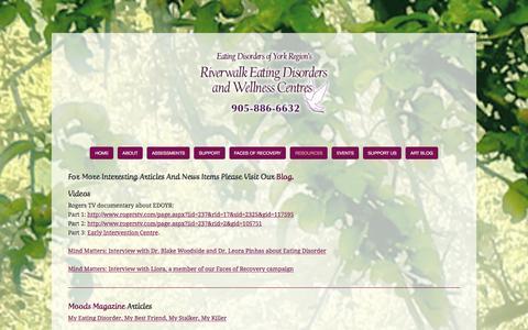 Screenshot of Press Page edoyr.com - Media — Eating Disorders Of York Region - captured Jan. 25, 2016