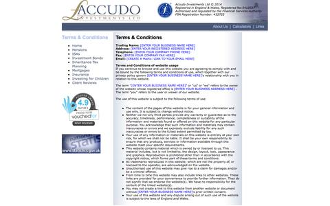 Screenshot of Terms Page accudo.co.uk - Accudo Investments Ltd - captured Oct. 4, 2014