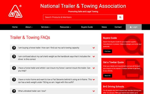 Screenshot of FAQ Page ntta.co.uk - NTTA Trailer & Towing FAQs - captured Nov. 9, 2018