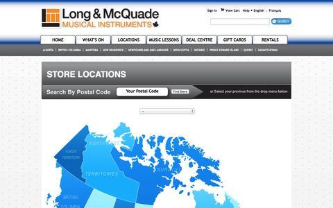Screenshot of Locations Page long-mcquade.com - Store Location:  -  Long & McQuade Musical Instruments - captured Sept. 19, 2014