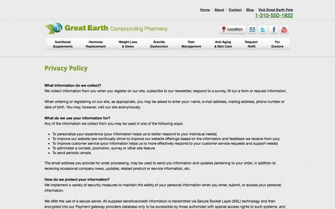 Screenshot of Privacy Page greatearthpharmacy.com - Privacy Policy - - captured Oct. 3, 2014
