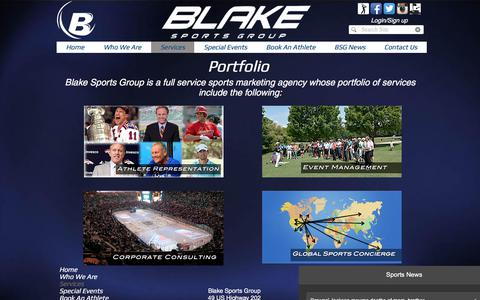 Screenshot of Services Page blakesportsgroup.com - Blake Sports Group - Services - captured Aug. 2, 2018