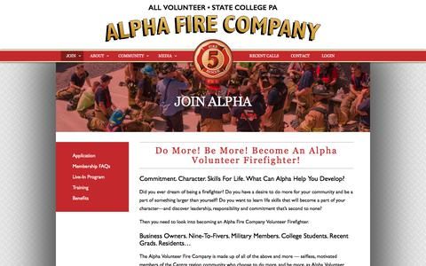 Screenshot of Signup Page alphafire.com - Join The Alpha Volunteer Firefighting Company & Fire Police - captured Oct. 8, 2017