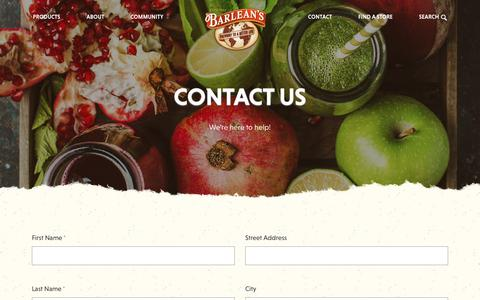 Screenshot of Contact Page barleans.com - Contact Us   Nutritional Health Supplements   Barlean's - captured March 23, 2019