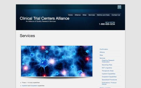 Screenshot of Services Page alliancesites.com - Services - Pharmaceutical Community Research Services | Clinical Trial Centers - captured Nov. 7, 2016