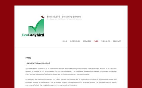 Screenshot of FAQ Page ecoladybird.com - FAQs About Management Systems and Auditing by Eco Ladybird - captured July 11, 2016