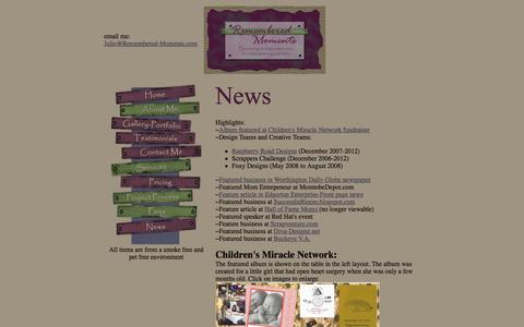 Screenshot of Press Page remembered-moments.com - Custom scrapbooks and personalized gifts created by Remembered Moments - captured June 14, 2016