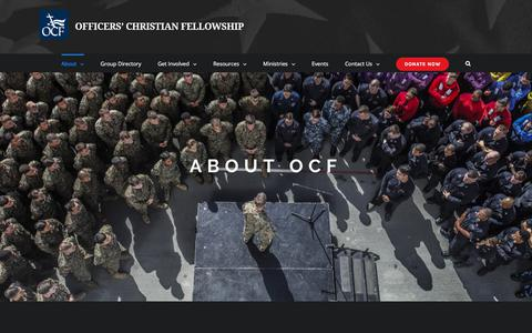 Screenshot of About Page ocfusa.org - About – Officers' Christian Fellowship - captured Oct. 19, 2017