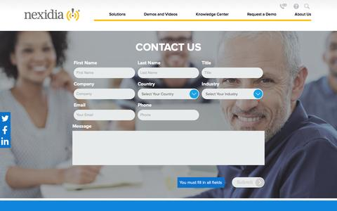 Screenshot of Contact Page nexidia.com - Contact Us - captured Feb. 4, 2016