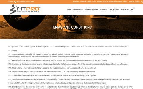 Screenshot of Terms Page fitpro.co.za - FITPRO - South Africa's Premier Fitness Education Institute - captured Oct. 25, 2018