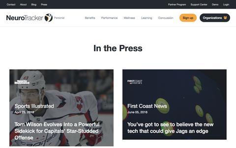 Screenshot of Press Page neurotracker.net - Press - News & Articles   NeuroTracker - captured Sept. 25, 2018