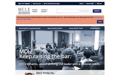 Screenshot of Signup Page mcle.org - MCLE | New England: CLE Programs, Webcasts and Publications - captured March 26, 2017