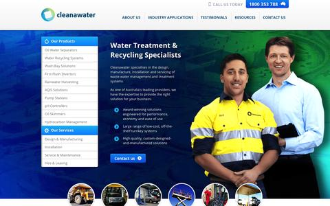 Screenshot of Home Page cleanawater.com.au - Waste Water Treatment | Cleanawater - captured Oct. 1, 2014