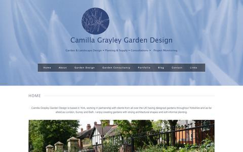 Screenshot of Home Page camillagrayleydesign.com - Camilla Grayley Garden Design | York and Yorkshire - captured Sept. 26, 2018