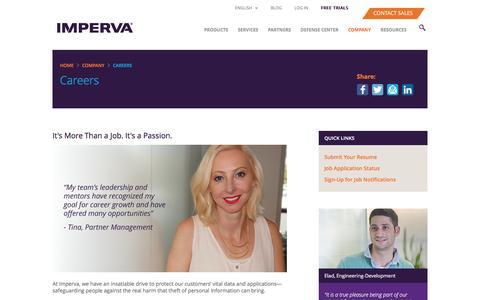 Screenshot of Jobs Page imperva.com - Careers - captured Nov. 12, 2016
