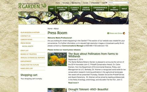 Screenshot of Press Page sbbg.org - Press Room | The Santa Barbara Botanic Garden - captured Oct. 4, 2014