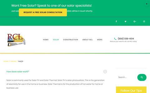 Screenshot of FAQ Page rclsolar.com - FAQ's - RCL Enterprises - captured Oct. 20, 2017