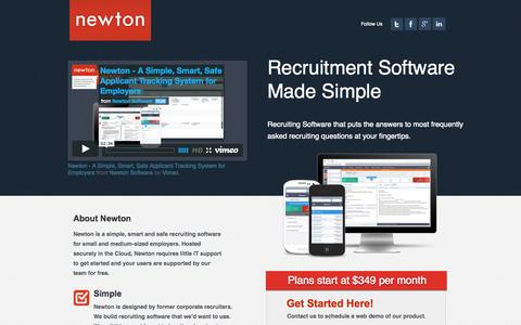 Screenshot of Landing Page newtonsoftware.com - Top Recruiting & Recruitment Software | Newton Software - captured Oct. 27, 2014