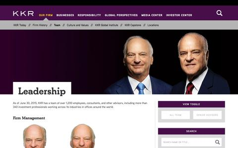 Screenshot of Team Page kkr.com - Leadership | KKR - captured Oct. 30, 2015