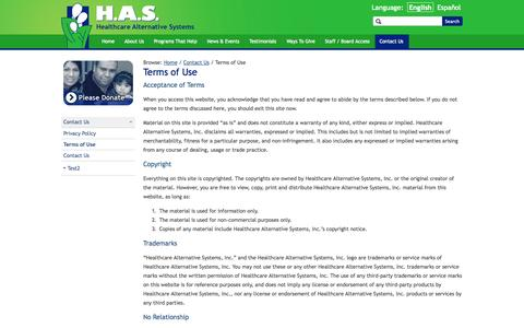 Screenshot of Terms Page hascares.org - Terms of Use › Healthcare Alternative Systems - captured Oct. 2, 2014