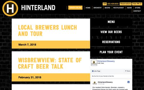 Screenshot of Press Page hinterlandbeer.com - News - Hinterland - captured Sept. 29, 2018