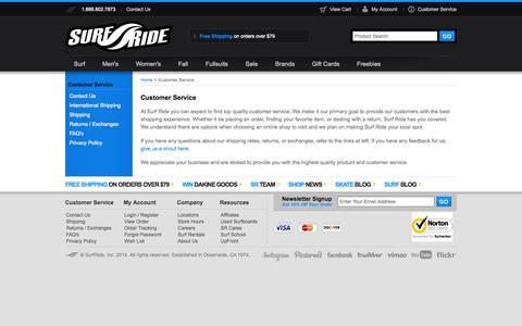 Screenshot of Support Page surfride.com - Customer Service - captured Sept. 24, 2014