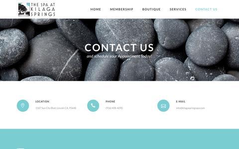 Screenshot of Contact Page kilagaspringsspa.com - The Spa at Kilaga Springs |   Contact Us - captured Dec. 1, 2016