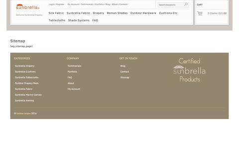Screenshot of Site Map Page plumridge.com - Sitemap - Plumridge Silk & Sunbrella - captured Oct. 6, 2016