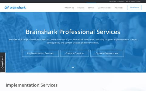 Screenshot of Services Page brainshark.com - Professional Services – Content, Dev & Implementation | Brainshark - captured Oct. 2, 2015