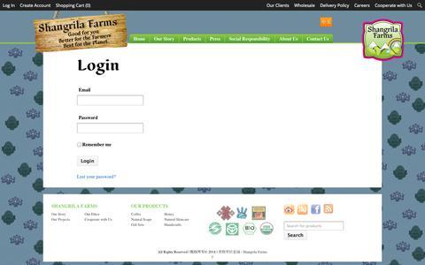 Screenshot of Login Page shangrilafarms.com - Login - 香格里拉农场 / Shangrila Farms - captured Oct. 26, 2014