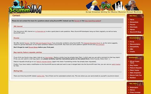 Screenshot of Contact Page scummvm.org - ScummVM :: Contact - captured Oct. 27, 2014