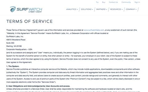 Screenshot of Terms Page surfwatchlabs.com - Terms of Service - captured Nov. 5, 2014