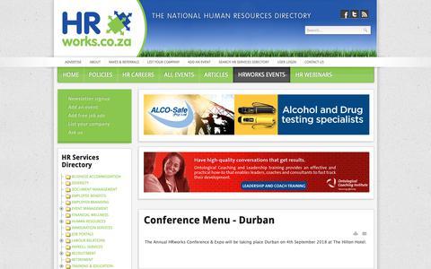 Screenshot of Menu Page hrworks.co.za - HRworks.co.za - A National Human Resources Directory - Menu - captured Oct. 24, 2018