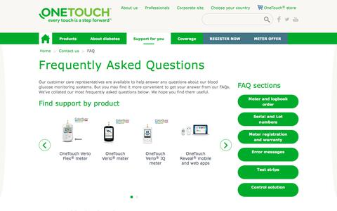 Screenshot of FAQ Page onetouch.com - Frequently Asked Questions (FAQs) | OneTouch® - captured Sept. 22, 2018