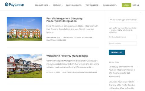 Screenshot of Case Studies Page paylease.com - Integration | PayLease - captured Aug. 4, 2018