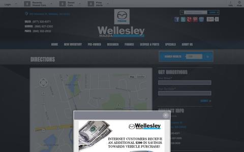 Screenshot of Maps & Directions Page wellesleymazda.com - Wellesley Mazda | Directions - captured Oct. 7, 2014