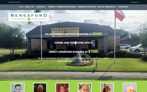 Screenshot of Home Page beresfordfunerals.com - Houston Funeral Home Beresford Funeral Homes, funerals, burials, cremations - captured April 9, 2017