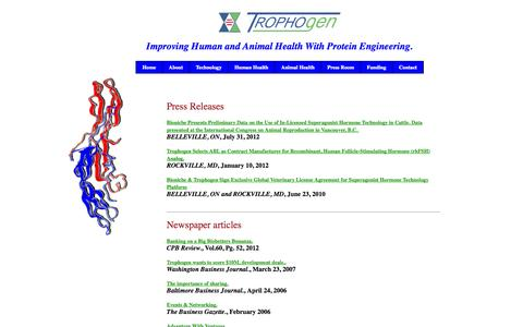 Screenshot of Press Page trophogen.com - Press: Trophogen Inc. Improving Human and Animal Health With Protein Engineering. - captured Oct. 9, 2014