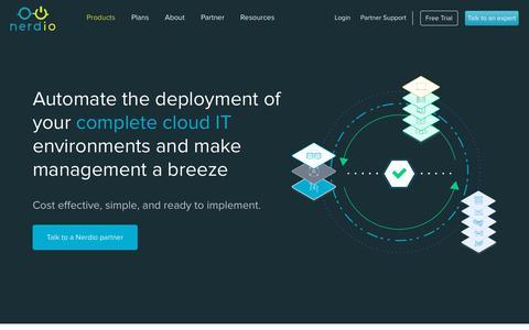 Screenshot of Products Page getnerdio.com - Nerdio & Nerdio for Azure - Private and Public Cloud Infrastructure   Nerdio - captured July 6, 2018