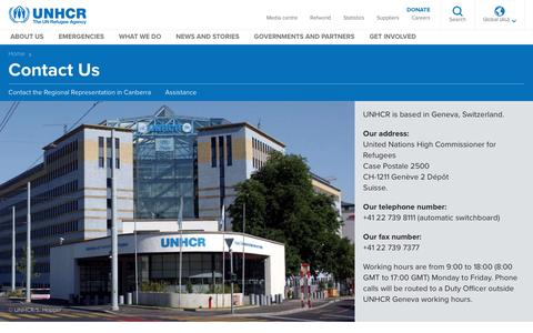 Screenshot of Contact Page unhcr.org - UNHCR- Contact Us - captured Feb. 21, 2018