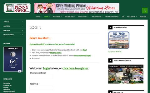 Screenshot of Login Page gvpennysaver.com - Login | Genesee Valley Penny Saver - captured Oct. 2, 2014