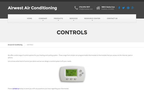 Screenshot of Products Page airwestac.com - CONTROLS   Airwest Air Conditioning - captured Nov. 20, 2016
