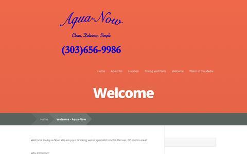 Screenshot of Home Page aqua-now.com - Denver Water Filtration, an Alternative to Delivery, by Aqua-Now - captured Sept. 30, 2014