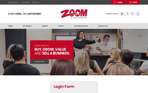 Screenshot of Login Page zoominbusiness.com - Zoom in Business | Knowledgebase Home - captured Sept. 20, 2018