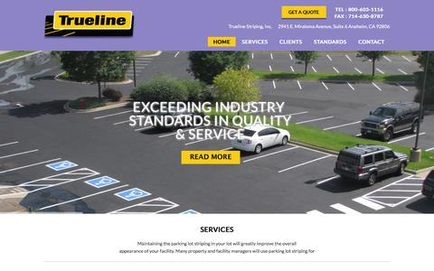 Screenshot of Home Page trueline.net - Trueline Parking Lot Maintenance Orange County & Beyond - Trueline - captured Feb. 27, 2016