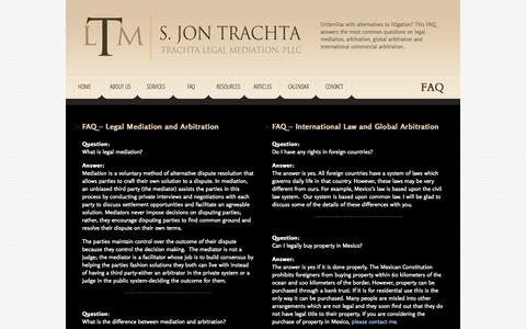 Screenshot of FAQ Page trachtalegalmediation.com - FAQ about Global Arbitration and Legal Mediation | Trachta Legal Mediation - captured Oct. 7, 2014