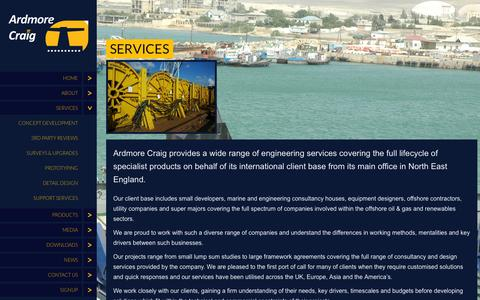 Screenshot of Services Page ardmorecraig.com - Services at Ardmore Craig | Offshore Engineering  Design Consultancy | Ardmore Craig - captured Oct. 4, 2014