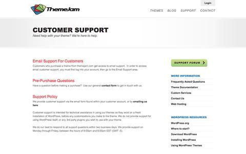 Screenshot of Support Page themejam.com - Customer Support. - captured Sept. 23, 2014